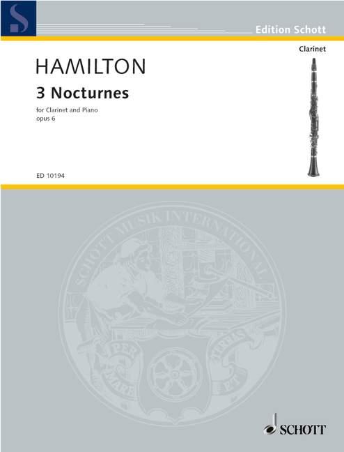 Tres Nocturnes Op. 6 6 6 Hamilton, Iain puntuación y piezas clarinete en un piano y 9  lo último